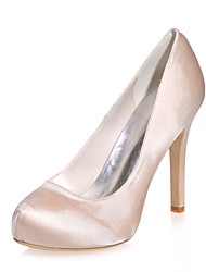 Women's Spring Summer Fall Satin Wedding Party & Evening Stiletto Heel Black Blue Purple Ivory White Silver Champagne