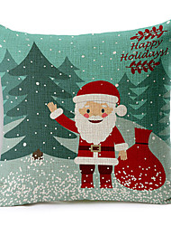Country Style Happy Holiday Christmas Cotton/Linen Decorative Pillow Cover
