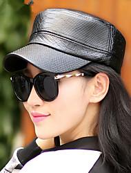 Women PU Pure Color Shiny Flat Cap