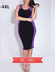 além das mulheres tamanhos vestido de festa sem mangas do clube na altura do joelho vestido (spandex / nylon)