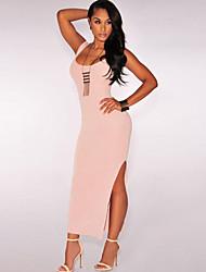 Women's Nude Thigh Slit Maxi Dress
