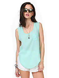Women's Solid Pink / Red / Black / Green Blouse , Round Neck Sleeveless