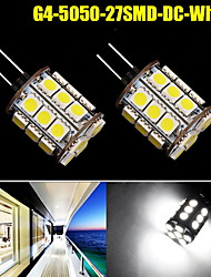 2X G4 Pure White 27SMD LED 5050 Car Cabinet RV Boat Crystal Light Bulb DC 12V US