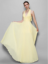 Lanting Bride® Floor-length Chiffon Bridesmaid Dress - A-line Halter with