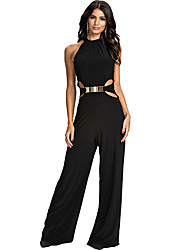 Women's Solid Color Black Jumpsuit , Sexy / Party V-Neck Sleeveless