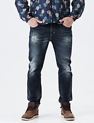 LEEPEN New Winter Men's Slim Pencil Dark Color Jeans.