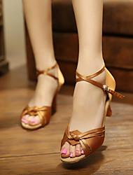 Customizable Women's Dance Shoes Latin Satin Customized Heel Brown