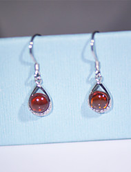 Earring Drop Earrings Jewelry Women Gemstone & Crystal / Sterling Silver / Cubic Zirconia 2pcs Silver / Red