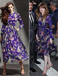 Formal Evening Dress - Print Plus Sizes / Petite A-line Jewel Tea-length Chiffon