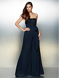 TS Couture Formal Evening Dress - Dark Navy A-line Strapless Floor-length Chiffon
