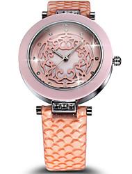 SKONE®Ceramic Case Carving Flower Pattern Crystal Dress Watches Women Fashion Luxury Ladies Leather Strap Watch