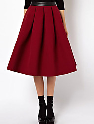 Women's Solid Red Skirts,Sexy Knee-length