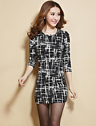 Women's Print White / Black Dress(cotton)