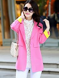 Women's Patchwork Blue / Pink / Green / Purple Cardigan , Casual Long Sleeve