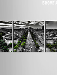E-HOME® Stretched Canvas Art Overlooking The City's Street Landscape Decoration Painting  Set of 3