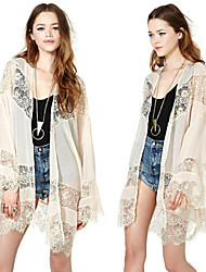 Women's Patchwork / Lace Beige Coats & Jackets , Casual Cape Long Sleeve