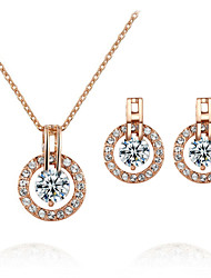 HKTC Elegant Bridal Jewelry 18k Rose Gold Plated Crystal Round Cz Synthetic Diamond Earrings and Necklace Set