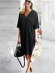 Women's Solid Black / Almond Dress , Casual V Neck Short Sleeve