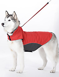 Dog Coat / Vest Red / Blue Dog Clothes Winter / Spring/Fall Solid Waterproof / Windproof