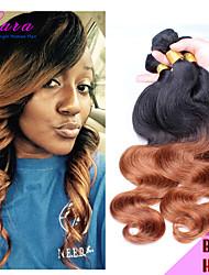 6a peruanische reine Haarkörperwelle zwei 2 tone ombre Haarverlängerungen unverarbeiteten 3 Bündel peruanische reine Haarkörperwelle