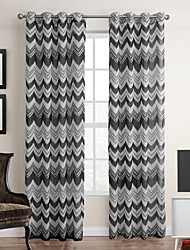 Modern One Panel Stripe Neutrals Living Room Polyester Panel Curtains Drapes