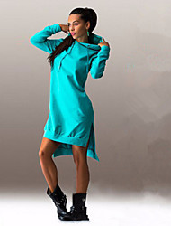Women's Solid Blue / Black / Gray Sell Well Fashion Irregular Dress , Casual Hooded Long Sleeve