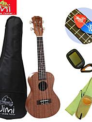 concerto jimi®mahogany praia ukulele marrom + backage + cinta + tuner + escolher terno