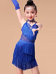 Dança Latina Roupa Crianças Actuação Fibra de Leite Cristal/Strass / Borla(s) 5 Peças Luvas / Saia / Neckwear / TopS:55cm / M:60cm /