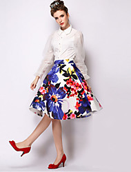 Women's Print Blue Skirts , Casual Knee-length
