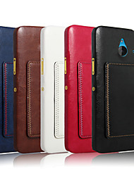 For Nokia Case Card Holder / with Stand Case Back Cover Case Solid Color Hard PU Leather NokiaNokia Lumia 640 / Nokia Lumia 640 XL /