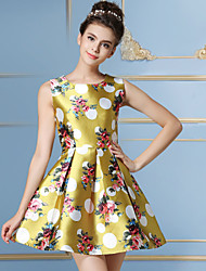 Women's Sweet Printing Casual Round Neck Sleeveless Yellow / Navy Blue Princess Dress