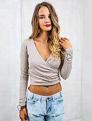 Damen Solide Einfach Lässig/Alltäglich T-shirt,Tiefes V Winter Langarm Grau Dünn