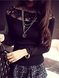 Women's Lace Splicing Bateau Slim All Match Pullover , Casual Long Sleeve