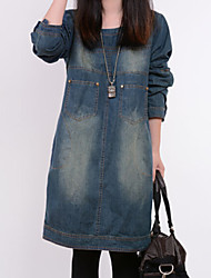 Women's New All Match Color Block Loose Denim Dress , Casual / Work