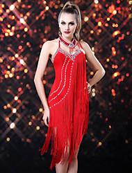 Latin Dance Dresses Women's Performance Rayon Spandex Tassel(s) 1 Piece Sleeveless Dress 110