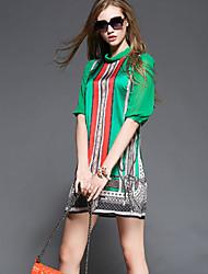 TS Casual/Print/Work/Plus Sizes Inelastic ½ Length Sleeve Above Knee Dress (Rayon)
