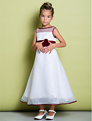 Lanting Bride A-line Ankle-length Flower Girl Dress - Organza Sleeveless Scoop with Buttons / Flower(s)