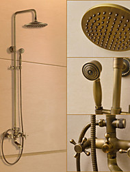 Traditional Shower System Rain Shower / Handshower Included with  Ceramic Valve Two Handles Three Holes for  Antique Brass , Shower Faucet