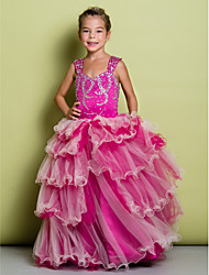 Lanting Bride ® A-line Floor-length Flower Girl Dress - Organza / Satin Sleeveless Straps with Beading / Tiers