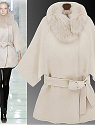 Women's Solid Color White Coats & Jackets , Casual V-Neck Long Sleeve