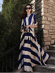 Women's Striped Multi-color Dresses , Casual Round ½ Length Sleeve