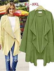 Women's Solid Color Green / Yellow Plus size Coats & Jackets , Casual / Work Tailored Collar Long Sleeve