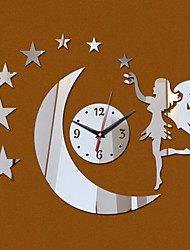 Acrylic 3D Mirror Home Decor Angel Stars Moon Wall Clock Mirror Surface Sticker
