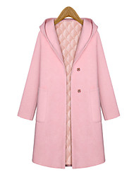 Women's Coat,Solid V Neck Long Sleeve Fall Pink / Silver Wool / Others Medium