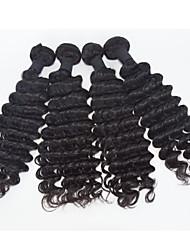 Negro 4pcs / lot onda profunda extensiones de cabello humano virginal brasileña del pelo natural, pelo rizo 8 '' - 30 '' pelo teje