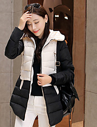 Women's Patchwork Blue / White Coats & Jackets , Vintage / Casual / Work Hoodie Long Sleeve
