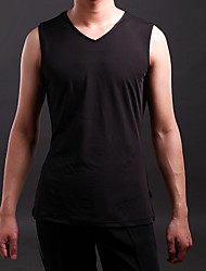 Latin Dance Tops Men's Training Spandex Pleated 1 Piece Sleeveless Top