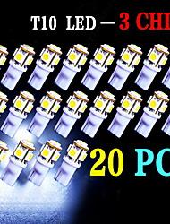 20 piezas blanco estupendo cuña T10 5 SMD 5050 llevó la luz de las bombillas W5W 2825 158 192 168 194