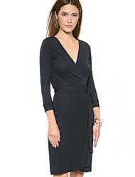 Women's Solid Navy Blue Dress (cotton)