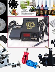 2 Guns Tattoo Machine Kit Digital Power Supply Needles Tips Inks Complete Set For Beginner Pro